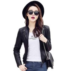 Women Korean Style Slim Fit Short Locomotive PU Leather Jacket Ladies Girl Plus-Size Long Sleeve Leather Coat Blazer-Black - Intl