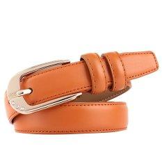 Women Ladies Fashion Adjustable PU Leather Alloy Buckle Waist Belt Strap Orange