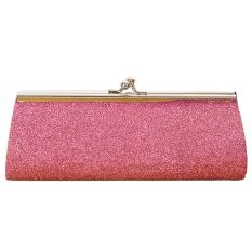 Women Ladies Girls Sparkly Glitter Clutch Handbag Wallet Wedding Bridal Prom Party Evening Purse Pink - Intl