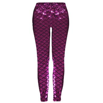 cd1d7c010bef67 Women Lady Fashion Printed Mermaid Fish Scale Leggings Pants Trousers  Stretchy Tights Comfort Casual Fit Rose