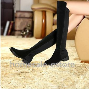 Women Lady Flat Thigh High Over Knee Suede Shoes Stretch Warm Winter Snow Boots BLACK - intl