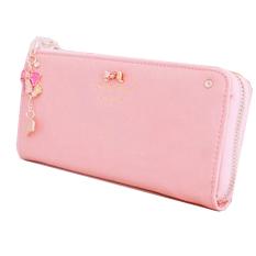 Women Leather Bow Pendant Clutch Long Card Purse Handbag Zip Wallet Bag Holder Pink - Intl