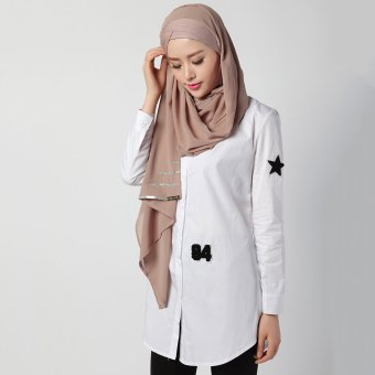 Women Long Sleeve Blouse Summer Shirts Muslim Clothing (White)