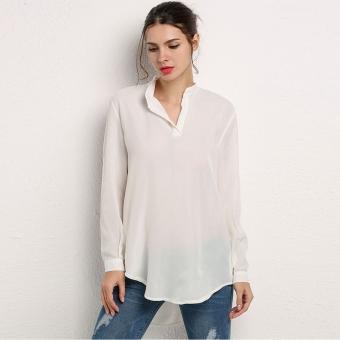 Women Long Tops Pockets Solid Long Sleeve Chiffon Blouse Casual Loose Mini Dress Shirt (White