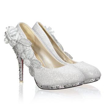 Women Sexy Wedding Bridal Pumps Party Crystal High Heels Silver - - Intl