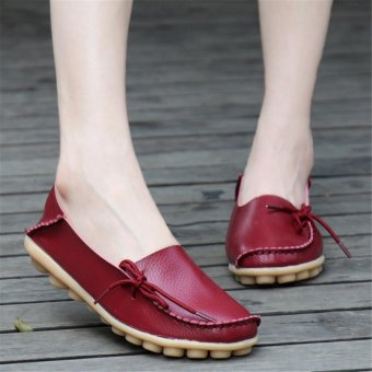 Women Shoes Leather Beanie Flat Shoes Summer Spring Autumn Slip-on Knot Non-slip Woman Ladies Soft Loafers Flats Wine Red - intl