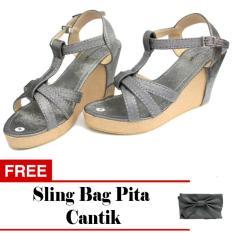 Women Shoes Princess Party - Grey Metalic + Free Sling Bag Pita Cantik