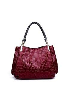 Women Shopping Bag Leather Shoulder Bag Handbag Cross Body Luxury Shopper (Red)