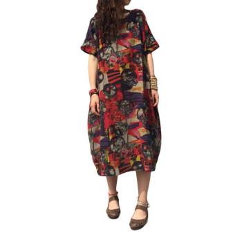 Women Short Sleeve Batwing Vintage Floral Print Baggy Loose Maxi Dress - intl