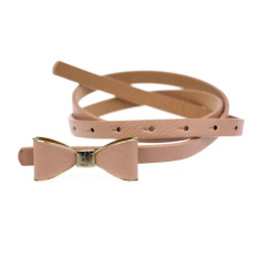 Women Skinny Butterfly Bow Waist Belt Waistband Pink