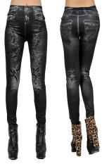 Women Skull Printing Slim Sexy Tattoo Legging Pants (Black)