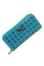 Women Stylish Faux Leather Skull Rivet Wallet Clutch Purse Handbag Bag Blue