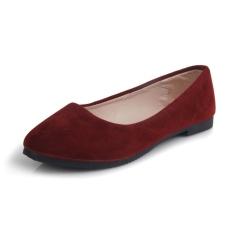 Women Suede Flat Shoes Fashion Slip-Ons ( Burgundy)- Intl