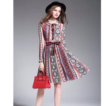 Women Summer Dress Elegant Peter Pan Collar Long Sleeve Printing A-line Casual Bohemian Style