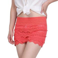 Women Summer Lace Crochet Elastic Slim High Waist Shorts Pants Watermelon Red - Intl