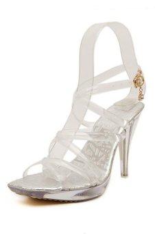 Women Transparent Cross Silicone Belt Crystal High Heel Pumps - Intl - INTL