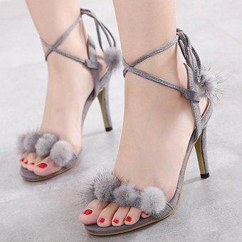 Women's Ankle Strap Heels London Party Sandals Grey - intl