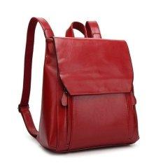 Women's Backpack Vintage Leather Backpack Motorcycle Backpack Femininas Women Leather Bag Tote (Red)