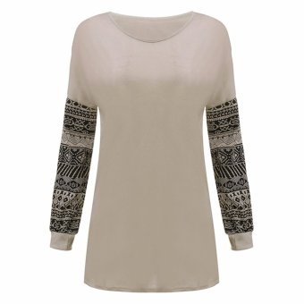 Women's Casual Autumn Print Loose Long Sleeve Round Neck Tops Blouse T-Shirt - intl
