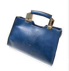 Women's Crown Pattern PU Leather Handbag Top Handle Shoulder Bag (Blue)