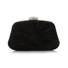 Womens Elegant Crystal Ruched Evening Party Clutch Purse Handbag Shoulder Bag (Black) - Intl
