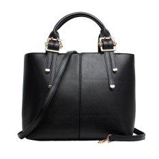 Women's Elegant Solid Color Chic Casual Shoulder Bag Satchels (Black)