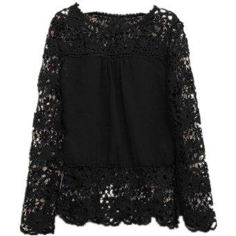 4d94bc10265a67 Womens Embroidery Lace Crochet Long Sleeve Chiffon Top Tee Shirt Blouse UK  6-20
