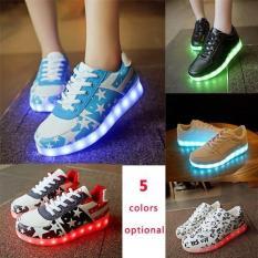 Women's Fashion LED Shoes Flat Luminous Fluorescent Light Board Shoes Korean USB Charging (Dark Blue) - Intl