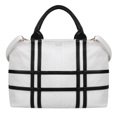 Women's Fashion Patchwork Contrast Color Shoulder Bag Handbag (White) (Intl)