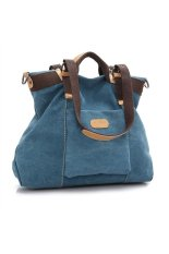 Women's Girls Large Capacity Leisure Canvas Handbag Tote Shoulder Bag Cross-body Messenger Bag Travel Bag Blue