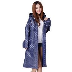 Womens Girls Portable Fashion Dots Hooded Long Rain Cape Poncho Coat Jacket Hood Waterproof Raincoat Poncho (Blue) - Intl