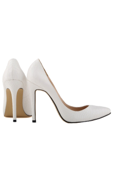 Women's High Heels Pointed Toe Platform Pumps PU Leather Stiletto Court Shoes (White)