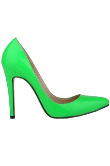 Women's High Heels Pointed Toe Platform Pumps Stiletto Sandal Court Shoes (Green)