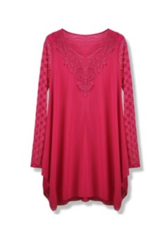Womens Lace Sleeve Long Sleeve T-shirts Blouse Bottoming Shirt (Rose Red)