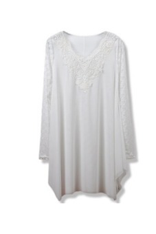 Womens Lace Sleeve Long Sleeve T-shirts Blouse Bottoming Shirt (White)