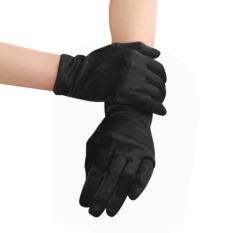 Womens Ladies Evening Party Opera Bridal Wedding Waiters Magicians Satin Wrist Short Sleeve Gloves Mittens Black
