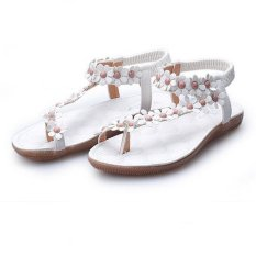 Womens Ladies Flat Open Toe Summer Beach Flower Sandals Elastic Strappy White (INTL)