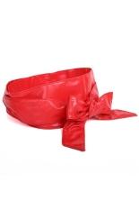 Women's Long Soft PU Self Tie Bowknot Band Sash Wide Belt Waistband Red