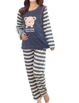 d76c23f15b1b Women s Loose Nursing Pajamas Snug Fit Long Sleeve Maternity Sleepwear  Pajama Set (Blue)