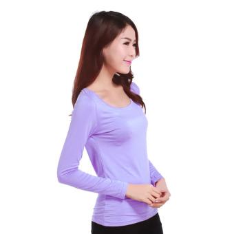 Women's Muslim Long Sleeve Modal T-shirt - Lavender - intl