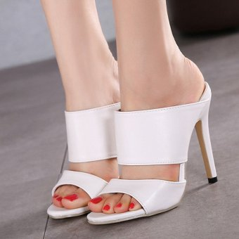 Womens Open Toe High Heel PU Casual With Sling Back Sandals White