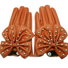 Women's Rivets Butterfly Bow PU Leather Gloves Brown (M) - Intl