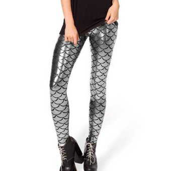cecc3d3fde887 Women's Sexy Mermaid Fish Scale Hologram Stretch Soft Shine Leggings Silver  - Intl
