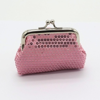 Womens Small Sequin Wallet Card Holder Coin Purse Clutch Handbag Bag - Pink - intl