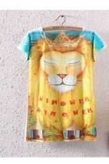 Women's Summer Fashion O-neck Animal Print Loose Casual T-Shirt Lion