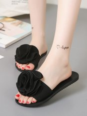 Women's Summer Slippers Solid Color Flower Decor Beach Shoes (Black) - intl