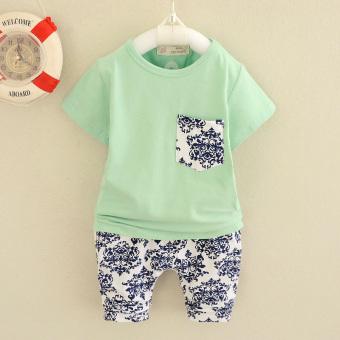 X776 Korea Fashion Style Pria Dan Wanita Biru Dan Putih Porselen Bayi Pakaian (Hijau) (Hijau)