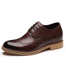 X886.2.75 Inches Taller Height Increase Elevator Oxford Shoes - Cow Leather Lace-up (Dard Brown) - Intl