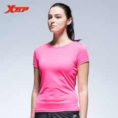 XTEP Women Workout T-shirts Elastic Breathable Fitness Shirts (Pink) - intl