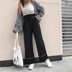 Yang chic Korea pinggang tinggi renda celana pinggang elastis longgar lebar kaki celana (Hitam)